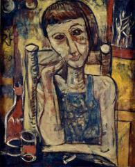 3 キャフェにて 1927(昭和2) 油彩、キャンバス 個人蔵