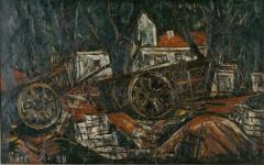 4 車のある風景 1928(昭和3) 油彩、キャンバス