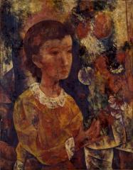7 花と少女 1938(昭和13) 油彩、キャンバス