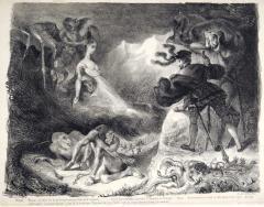 ウジェーヌ・ドラクロワ《ファウストの前に現れるマルガレーテの亡霊》(『ファウスト』より) 1828年