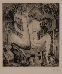 《背中合せ》エッチング、紙 瑛九エッチング集『小さい悪魔』より 1952(昭和27)刊行