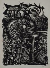 《裏庭》 1956(昭和31) リトグラフ、紙