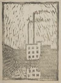 香山小鳥《深川の冬》1913年 木版、紙