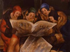 新聞を見る 1929(昭和4) 油彩、キャンバス 栃木県立美術館蔵