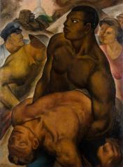 ボーナス・マーチ 1932(昭和7) 油彩、キャンバス 和歌山県立近代美術館蔵
