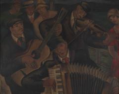 失業音楽隊 1928(昭和3)年 油彩、キャンバス 東京都現代美術館蔵
