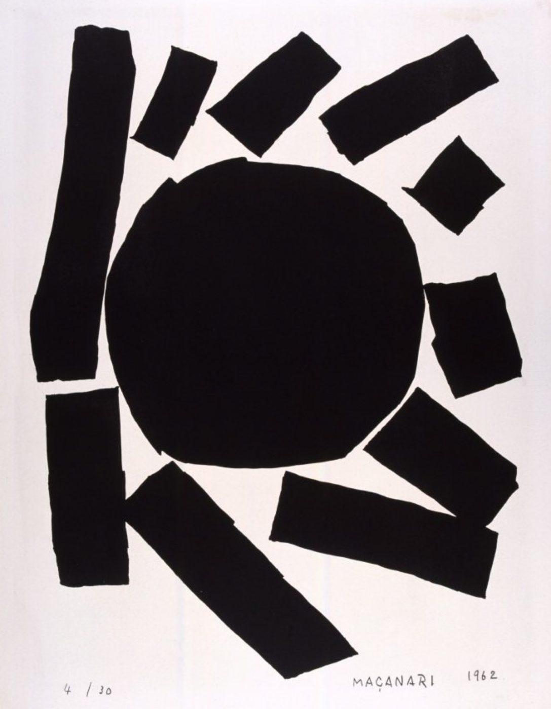 村井正誠《黒い太陽》1962年  石版、紙