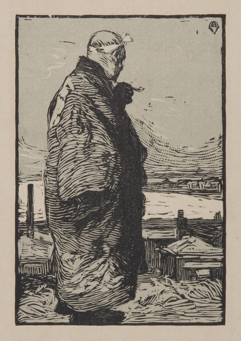 山本鼎《漁夫》1904年 木版、紙