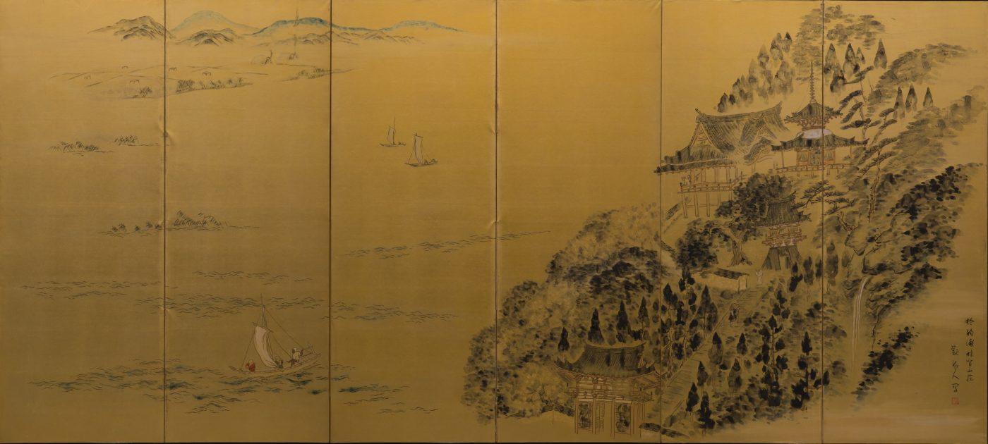 《和歌浦二趣》 1937(昭和12) 墨、顔料、紙、六曲一双屏風 個人蔵 右隻:紀三井寺の春/168.8×375cm