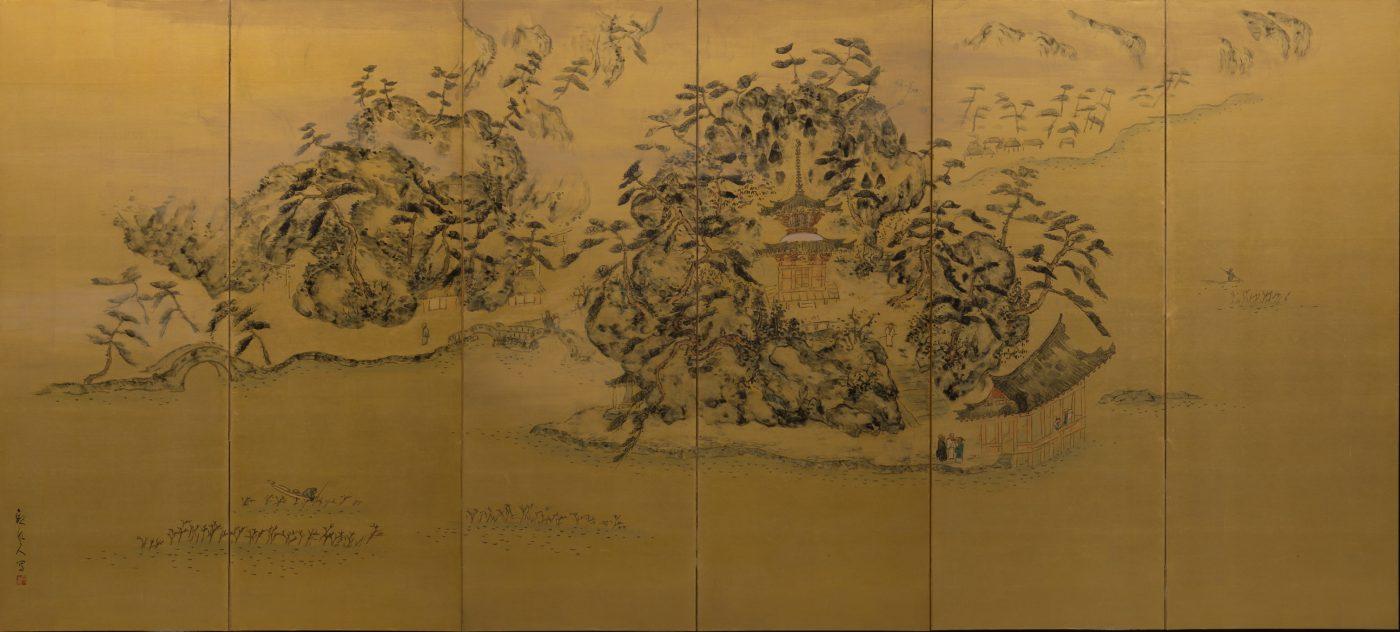 《和歌浦二趣》 1937(昭和12) 墨、顔料、紙、六曲一双屏風 個人蔵 左隻:妹背の秋/168.8×375cm