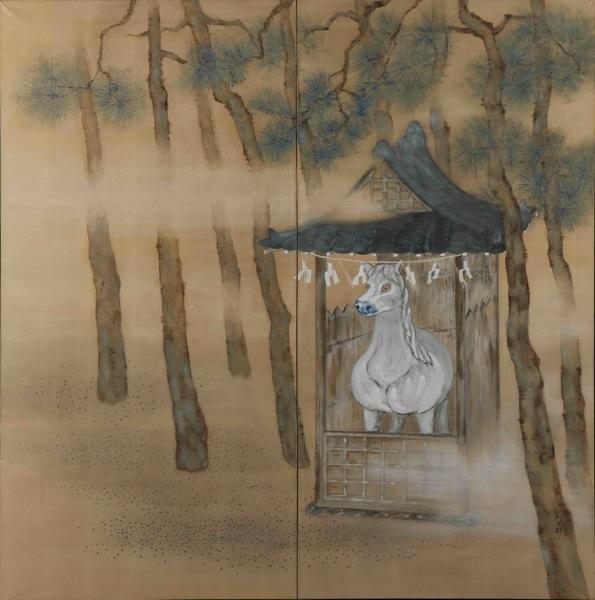 《神苑待御》 制作年不詳 顔料、絹、二曲一隻屏風 170.7×169.0cm 当館蔵