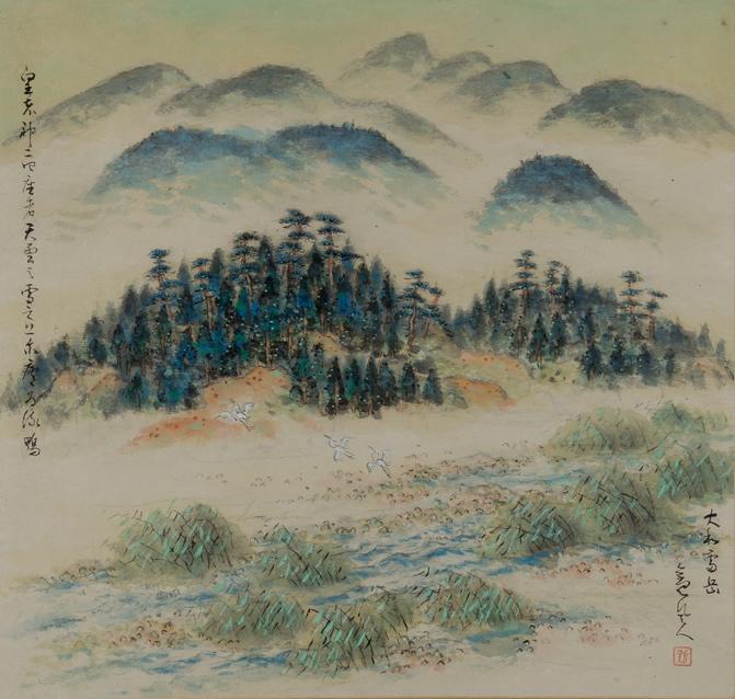 《万葉歌蹟 大和雷岳之図》 1943(昭和18) 顔料、紙、軸装 55.4×58.4cm 個人蔵