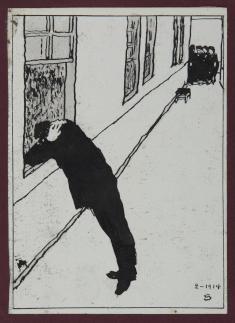 藤森静雄《瞳》1913年 インク・淡彩、紙恩地孝四郎《望と怖》1914年頃 木版、紙