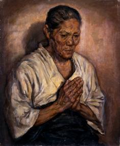 保田龍門《母の像》1915年 油彩、キャンバス