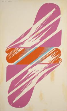 山中嘉一《Sky-zone》1968/シルクスクリーン、キャンバス/162.0×97.0cm