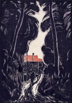 逸見享《風景》1925 木版、紙