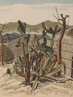逸見享《サボテンのある風景》1932 木版、紙