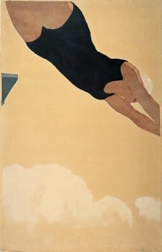 《ダイビング》 1933頃 木版、紙 横浜美術館(北岡文雄氏寄贈)[5月22日までの展示]