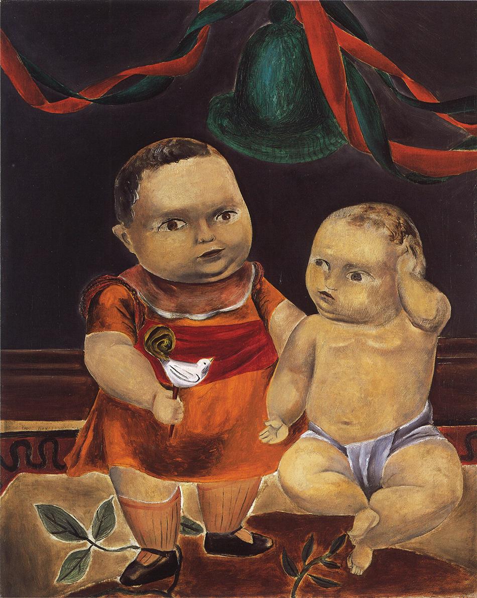 国吉康雄《二人の赤ん坊》1923年 油彩、キャンバス 福武コレクション