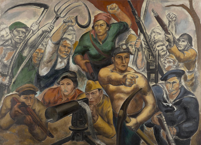 石垣栄太郎《人民戦線の人々》1936〜37年頃 油彩、キャンバス 和歌山県立近代美術館蔵