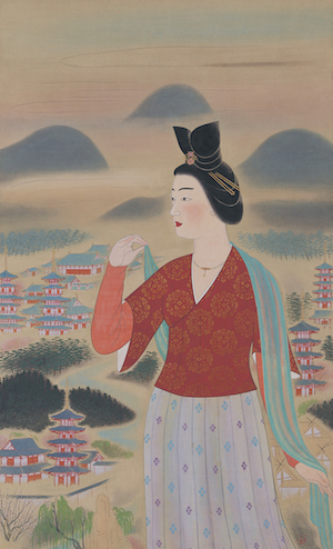 安田靫彦《飛鳥の春の額田王》1964年 滋賀県立近代美術館蔵