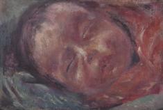 川口 軌外(KAWAGUCHI Kigai/1892-1966)《顔》1918(大正7)/油彩、板/15.4×22.4