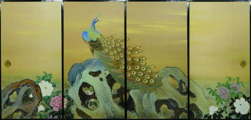 黒住章堂《孔雀牡丹図》1935年 寂光院蔵