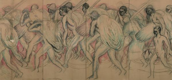 野長瀬晩花《夕日に帰る漁夫 下絵》1920(大正9) / 木炭、顔料、紙