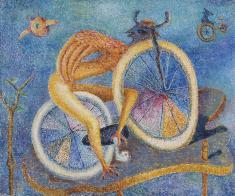 瑛 九《自転車》1956 油彩、キャンバス
