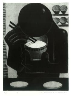 深沢幸雄《めし》1956(昭和31) 銅版、紙