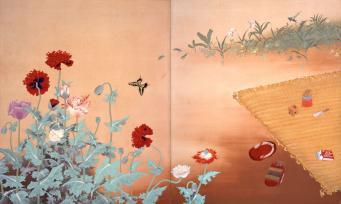稗田一穗《初夏の庭》1936(昭和11) 顔料、絹