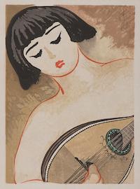 平川清蔵《「平川清蔵版画集」第1輯 マンドリンを弾く少女》1926年